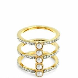 Jucy Couture Pave & Faux Pearls Cage Ring